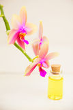 Essence of  orchid flowers on table in beautiful glass jar Stock Photos