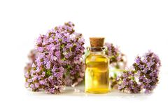 Essence of Oregano flowers on table in beautiful glass Bottle. Essence of flowers on table in beautiful glass Bottle Stock Photography