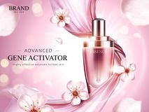 Essence product ads. Exquisite droplet bottle with pink soft chiffon and flying sakura petals in 3d illustration Stock Image