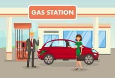 Essence, remplissage, illustration de vecteur de station service illustration stock