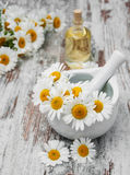 Essencial oil and camomile Royalty Free Stock Photo