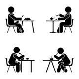 Essendes und sitzendes Vektorpiktogramm Haften Sie Zahl Schwarzweiss-Ikone des gesetzten Symbols des Jungen auf Weiß lizenzfreie abbildung
