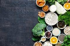 Essenkopienraum des gesunden Lebensmittels der Draufsicht der Kalziumvegetarier sauberer stockbilder
