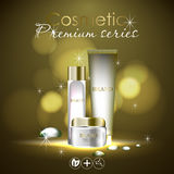 Essense and a cream for skin care. 3d vector realistic illustration. Collagen solution , oil drops. The design of Royalty Free Stock Image