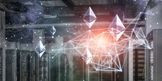 The essense of crypto currency. Ethereum and graph holograms in server room stock image