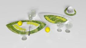 Essenstablette mit den Zitronen, Gabel, Untertasse und Gläsern lokalisiert auf weißem Hintergrund Lizenzfreies Stockbild