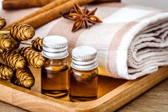 Essentail oil spa bath set for relaxation. Time royalty free stock photo