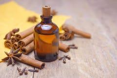 Essentiële aromakaneelolie Stock Foto's