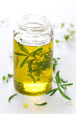 Essentiële olie met rozemarijn Royalty-vrije Stock Foto