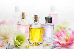 Essential aroma oil. Bottles with essential aroma oil and flowers on white wooden background. Healthy skin care. Place for text stock image