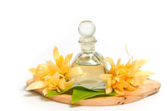 Essential aroma oil with champaka flower Stock Photos