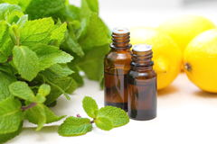 Essential aroma oil. With mint and lemon Royalty Free Stock Photos