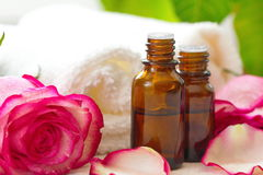 Essential aroma rose oil Stock Images