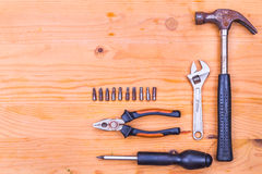 Essential basic tools set consisting hammer, plier, screwdriver, Stock Photography