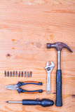 Essential basic tools set consisting hammer, plier, screwdriver, Stock Photos