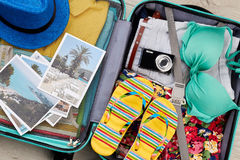Essential beach things in suitcase. Stock Photography