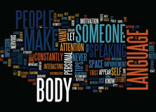 Essential Body Language Tips Word Cloud Concept. Essential Body Language Tips Text Background Word Cloud Concept Royalty Free Stock Photo