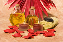 Essential body massage oils Stock Photos