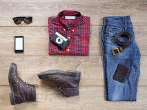 Essential casual men clothing Stock Images