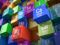 Essential chemical minerals and microelements. 3d render Stock Photo