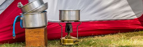 Cooking equipment on a campsite stock photo
