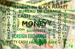 Essential Financial Term Backdrop with Dollars Banknote Card Bac Stock Image