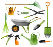 Essential gardening hand tools Stock Images