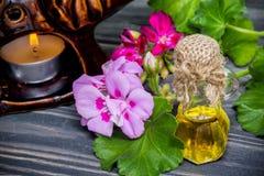 Essential geranium oil Stock Photography