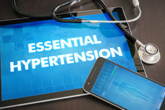 Essential hypertension (heart disorder) diagnosis medical concept on tablet screen with stethoscope.  royalty free stock image