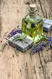 Essential lavender oil, herbal soap and bath salt Royalty Free Stock Image