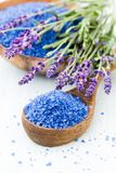 Essential lavender salt with flowers top view stock photos
