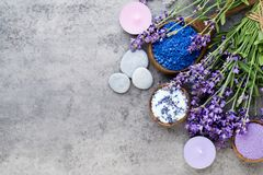 Essential lavender salt with flowers top view royalty free stock photography