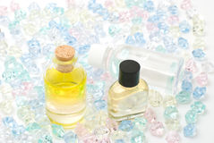 Essential oil. In the colorful crystal stones Royalty Free Stock Photo