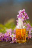 Essential oil of Arabis flower on a table in beautiful bottle Stock Images