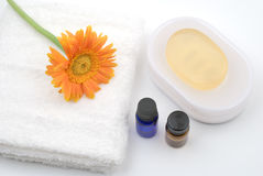 Essential oil and bath supplies. With gerbera daisy on white background Stock Photography