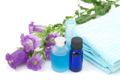 Essential oil and blue towel. With Campanula medium on white background Stock Image