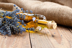 Essential oil botle and lavender flowers Stock Image