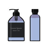 Essential oil bottle, spray. Soap pump. Cosmetic vial, flask, flacon. Container for perfume. Medical bank. Cosmetic dropper-bottle. Label, sticker Royalty Free Stock Photography
