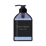 Essential oil bottle, spray. Soap pump. Cosmetic vial, flask, flacon. Container for perfume. Medical bank. Cosmetic dropper-bottle. Label, sticker Royalty Free Stock Image