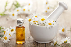 Essential oil and camomile flowers in mortar Stock Photos