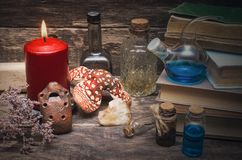 Essential oil on druid table. royalty free stock photo