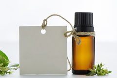 Essential oil, empty tags and  flowers. Essential oil, empty tags and lowers white background Stock Image