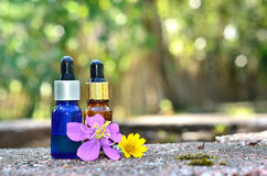 Essential oil with flower Royalty Free Stock Photography