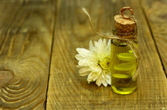 Essential Oil and flower vintage Bottle. SPA cosmetical for massage on wood table with oils, essential oils, flower, scents  for Aromatherapy. Focus on products Stock Photography