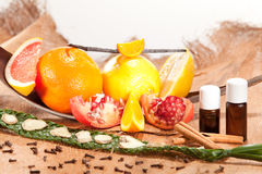 Essential oil of fruits Royalty Free Stock Images
