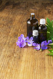 Essential oil of geranium meadow in dark glass containers on wooden background with flowers and leaves. Selective focus. Stock Photos