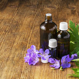 Essential oil of geranium meadow in dark glass containers on wooden background with flowers and leaves. Selective focus. Royalty Free Stock Photography