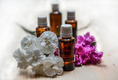 Essential oil in the glass bottle. An essential oils in the glass bottles Royalty Free Stock Image