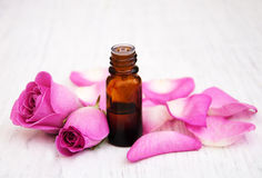 Essential oil in glass bottle Stock Photography