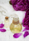 Essential oil in glass bottles Royalty Free Stock Image